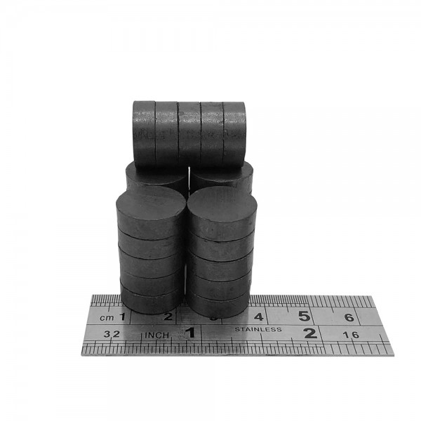 15mm Dia x 5mm C8 Strong Ferrite Disk Magnets ( Pack of 25 )