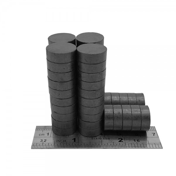 15mm Dia x 5mm C8 Strong Ferrite Disk Magnets ( Pack of 50 )