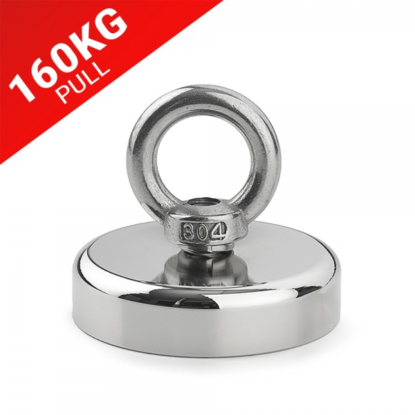 160KG Pull Recovery Fishing Magnet with Rope Eyebolt 60mm | Online Magnets
