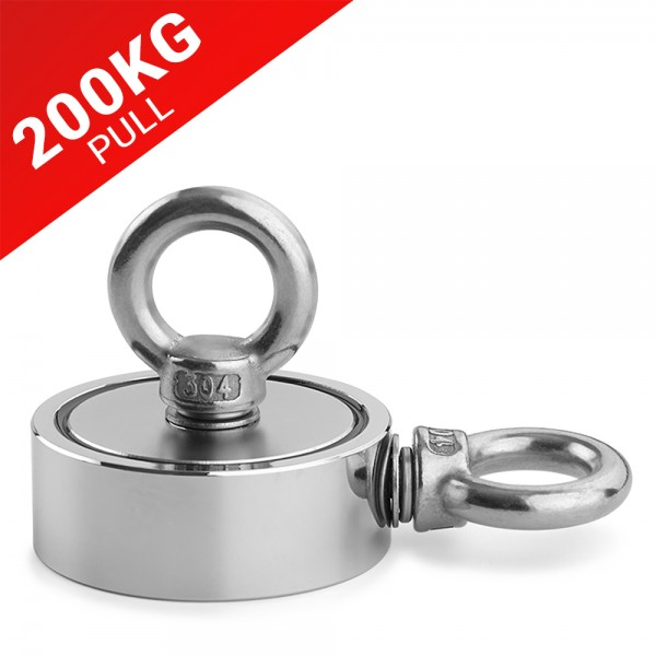 200KG Pull Recovery Fishing Magnet With 2 Threaded Holes