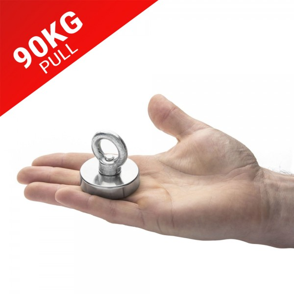 90kg Pull Recovery Fishing Magnet With Eyebolt | Online Magnets