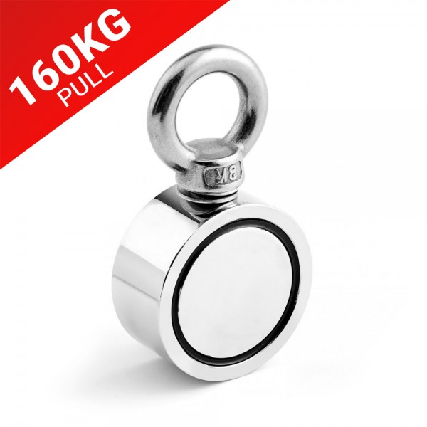 48mm X 22mm Recovery Magnet With Rope Eyebolt 160kg Pull