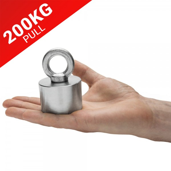 55mm X 40mm Neodymium Recovery Magnet With Eyebolt 200kg Pull