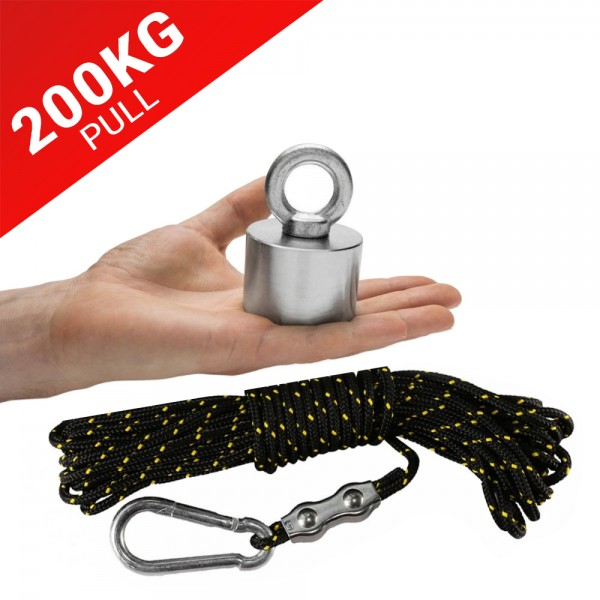 200kg Pull Recovery Fishing Magnet With Eyebolt Carabiner & 10m Rope | Online Magnets