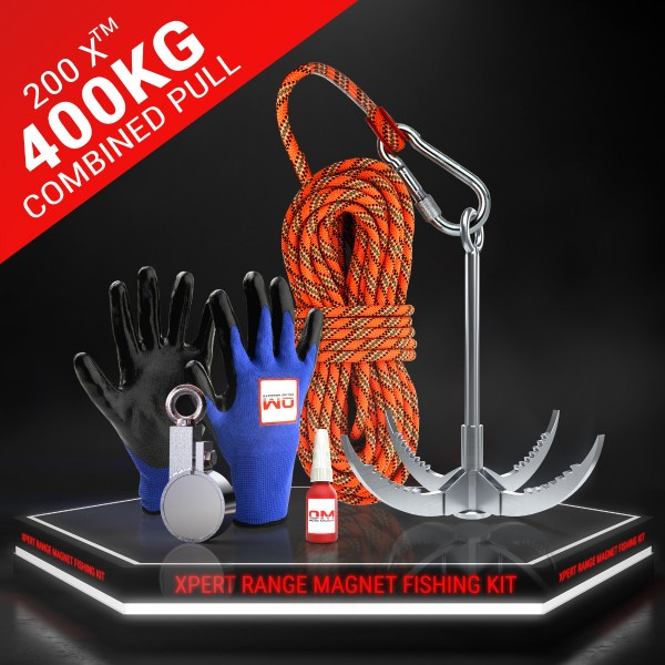 200 X™ Recovery Clamp Neodymium 400KG / 881 LB Fishing Magnet - The Full Kit