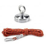 80mm Recovery Magnet With Eyebolt, Carabiner & 10m Rope, 60kg
