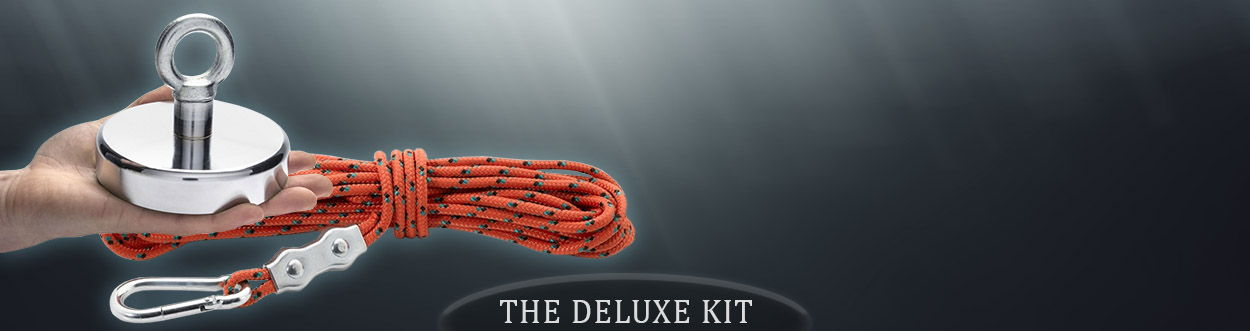 125mm Recovery Magnet With Eyebolt, Carabiner & 10 Metres of Rope, THE DELUXE KIT 130kg Pull - Recovery Magnets & Rope