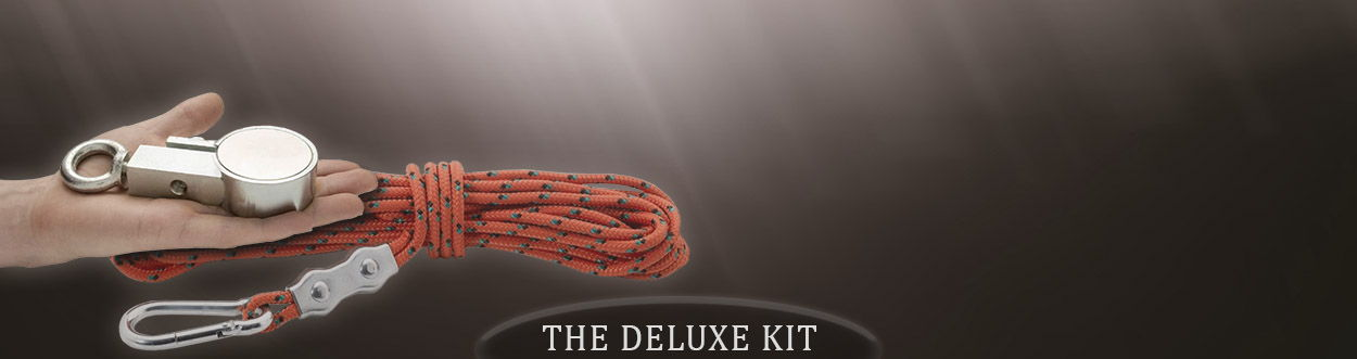 60mm X 25mm Neodymium Recovery Magnet With Eyebolt, Carabiner & 10 Metres of Rope, THE DELUXE KIT 200kg Pull